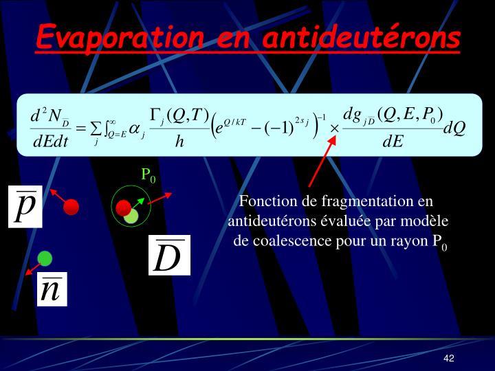 Evaporation en antideutérons
