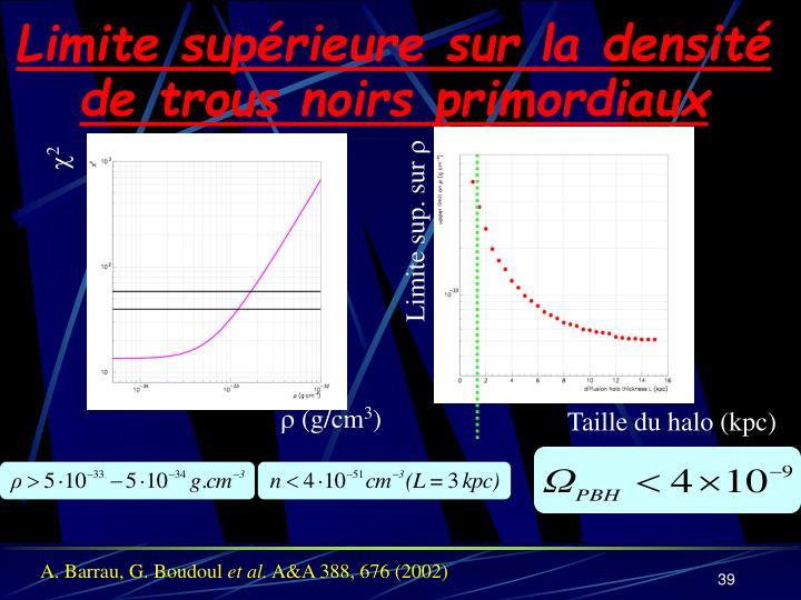 Limite supérieure sur la densité de trous noirs primordiaux