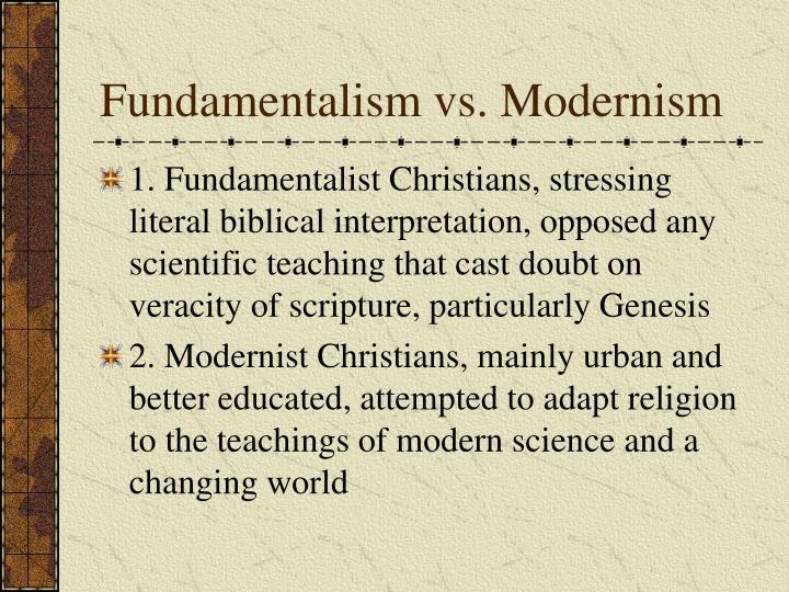 Fundamentalism vs. Modernism