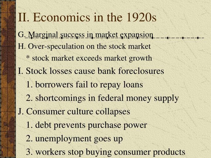 II. Economics in the 1920s