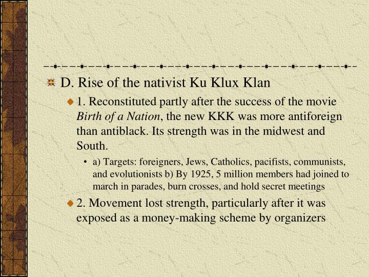 D. Rise of the nativist Ku Klux Klan