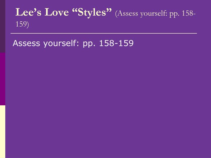 "Lee's Love ""Styles"""