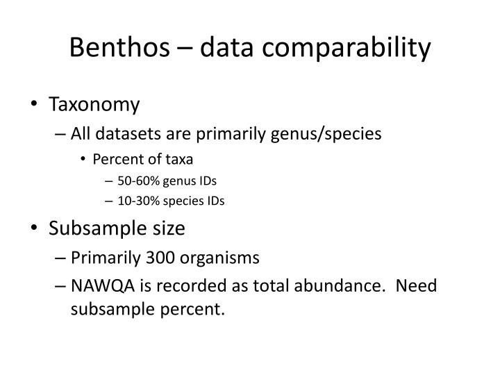 Benthos – data comparability