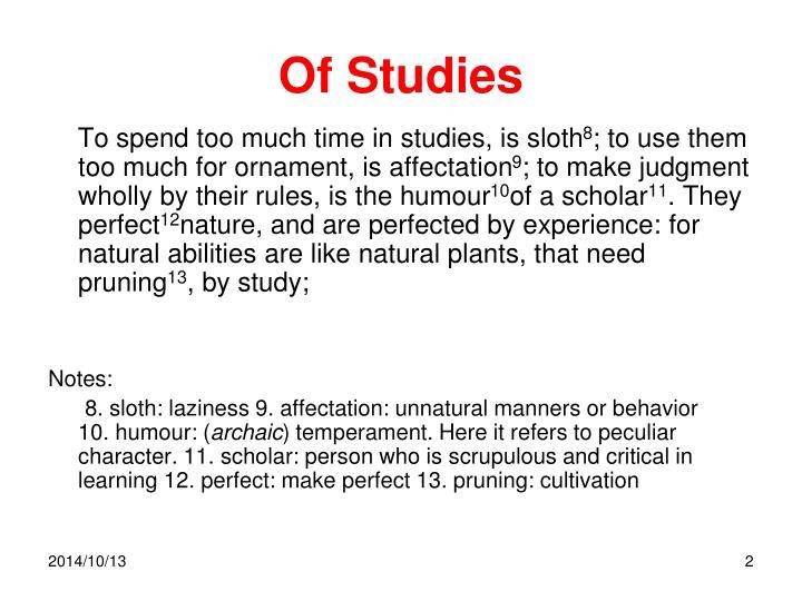 Of Studies