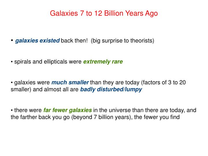 Galaxies 7 to 12 Billion Years Ago
