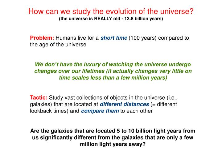How can we study the evolution of the universe?