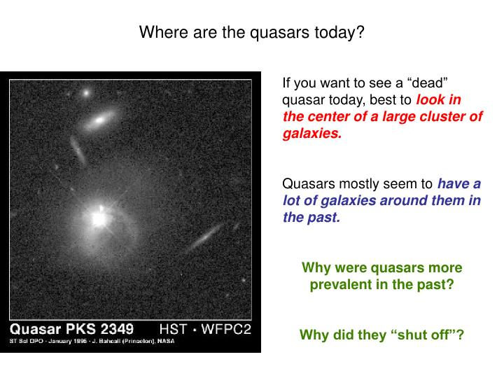 Where are the quasars today?
