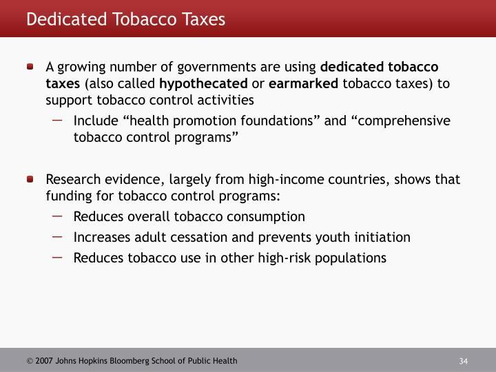 Dedicated Tobacco Taxes