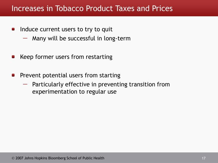 Increases in Tobacco Product Taxes and Prices