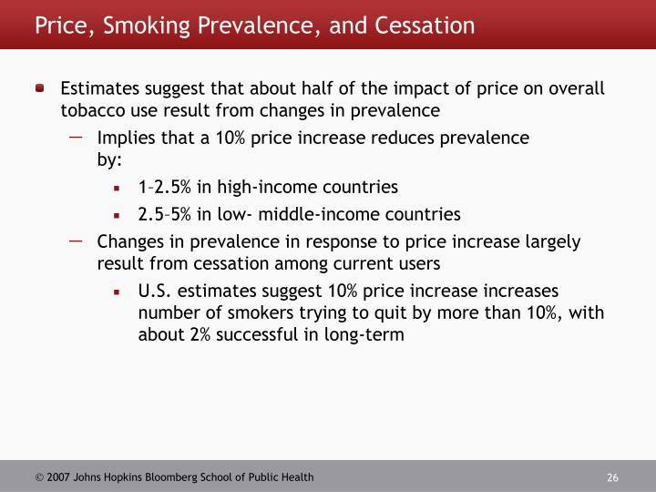 Price, Smoking Prevalence, and Cessation