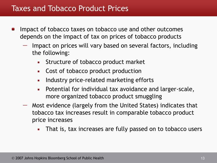 Taxes and Tobacco Product Prices
