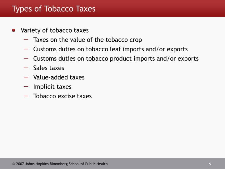 Types of Tobacco Taxes