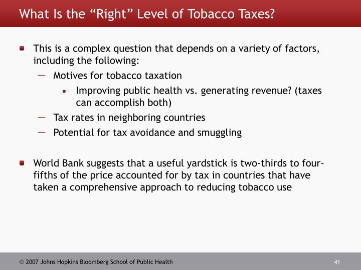 """What Is the """"Right"""" Level of Tobacco Taxes?"""