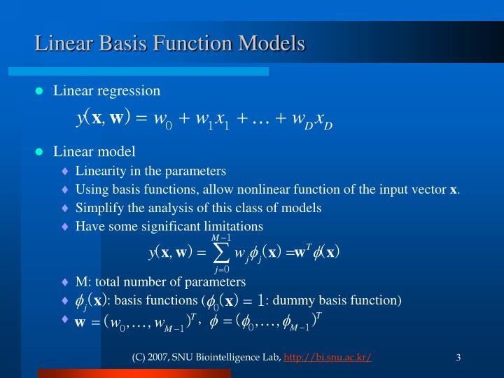 Linear basis function models