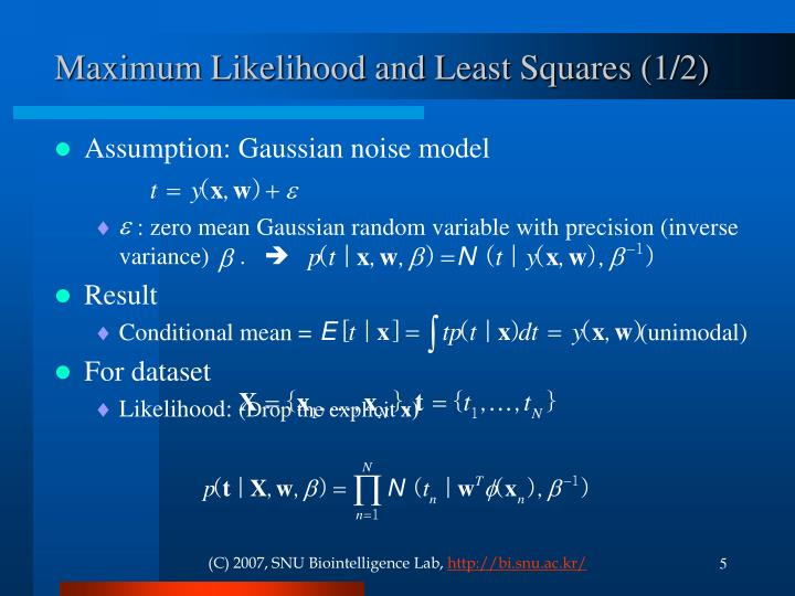 Maximum Likelihood and Least Squares (1/2)