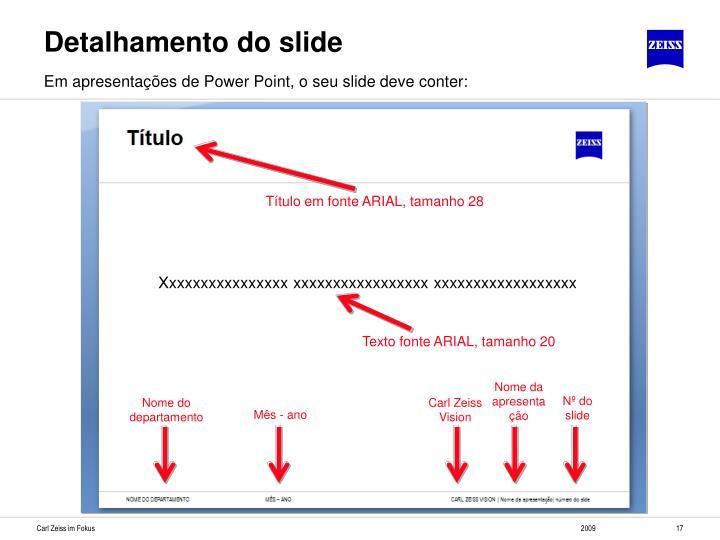 Detalhamento do slide
