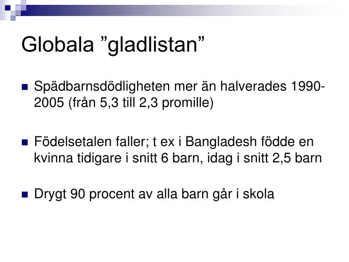 "Globala ""gladlistan"""