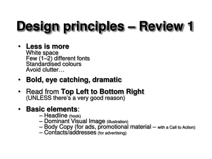 Design principles – Review 1