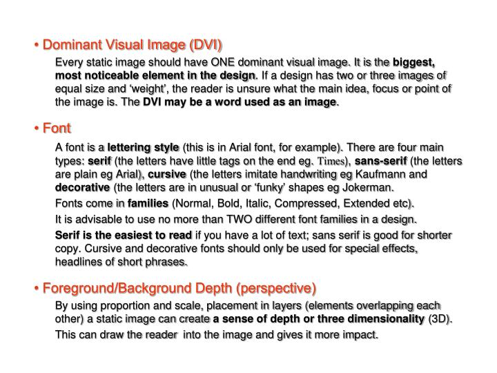 • Dominant Visual Image (DVI)