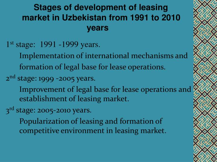 Stages of development of leasing