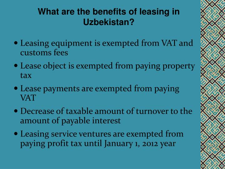 What are the benefits of leasing in Uzbekistan?