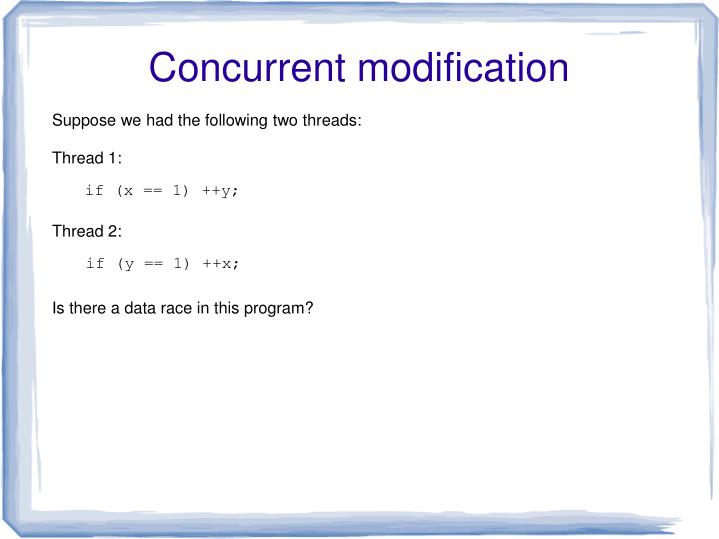 Concurrent modification