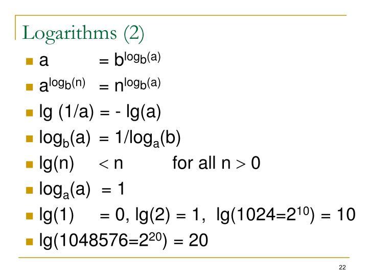 Logarithms (2)
