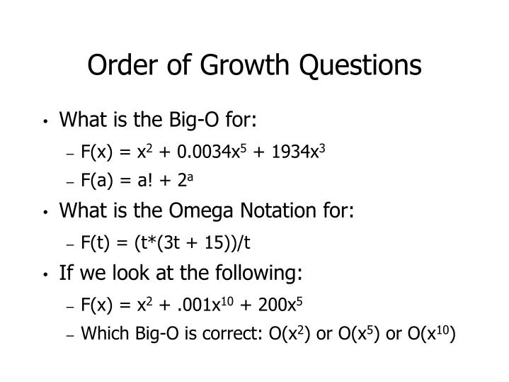 Order of Growth Questions