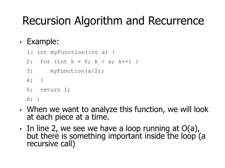 Recursion Algorithm and Recurrence