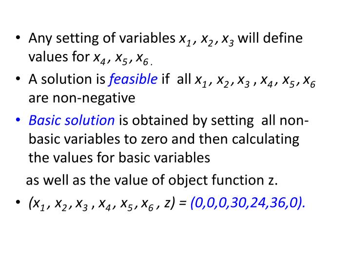 Any setting of variables