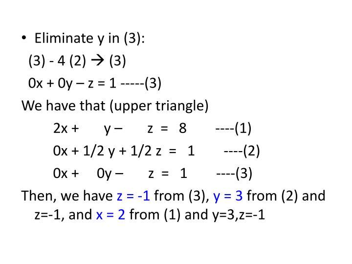 Eliminate y in (3):