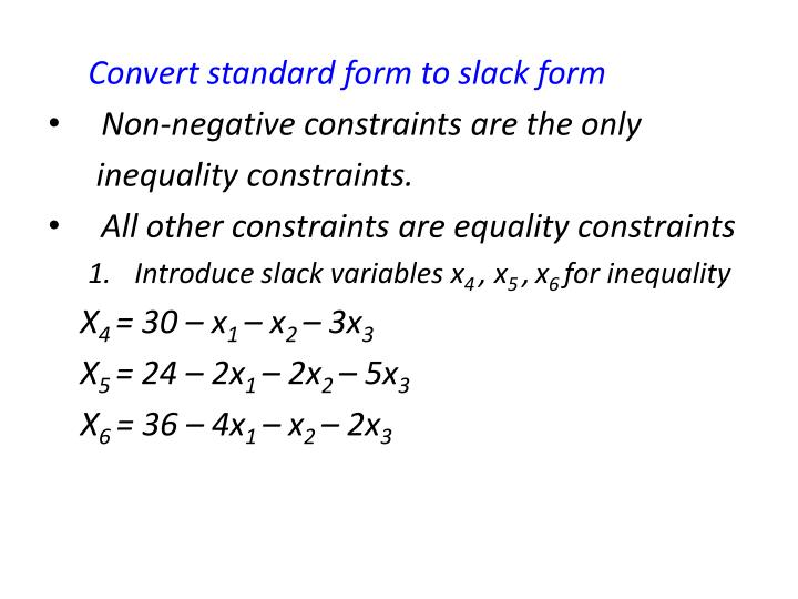 Convert standard form to slack form