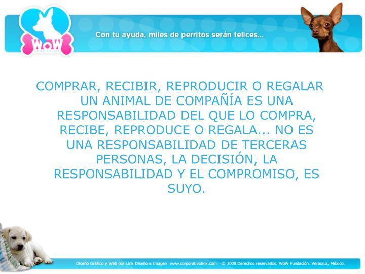 COMPRAR, RECIBIR, REPRODUCIR O REGALAR UN ANIMAL DE COMPAÑÍA ES UNA RESPONSABILIDAD DEL QUE LO COMPRA, RECIBE, REPRODUCE O REGALA... NO ES UNA RESPONSABILIDAD DE TERCERAS PERSONAS, LA DECISIÓN, LA RESPONSABILIDAD Y EL COMPROMISO, ES SUYO.