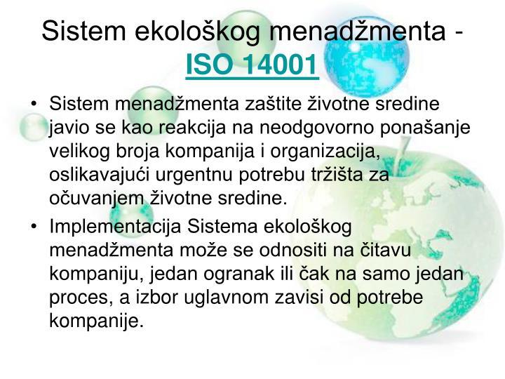 Sistem ekološkog menadžmenta -