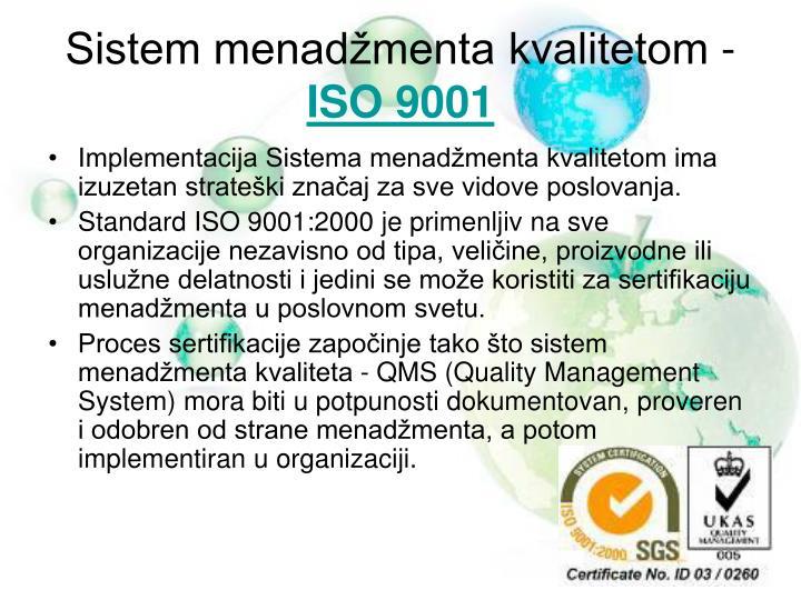 Sistem menadžmenta kvalitetom -