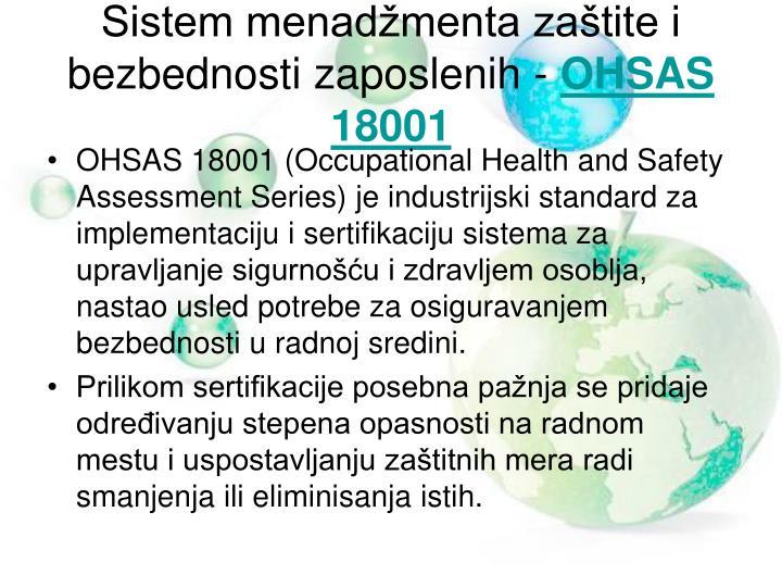 Sistem menadžmenta zaštite i bezbednosti zaposlenih -