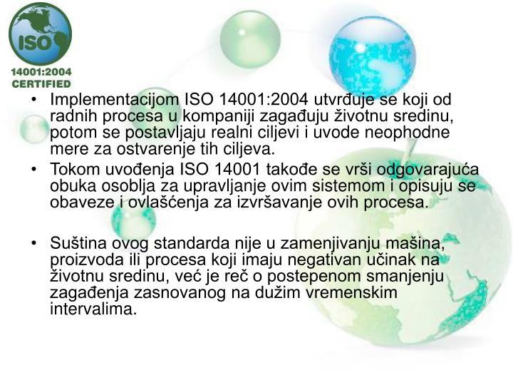 Implementacijom ISO 14001:2004 utvrđuje se koji od radnih procesa u kompaniji zagađuju životnu sredinu, potom se postavljaju realni ciljevi i uvode neophodne mere za ostvarenje tih ciljeva.