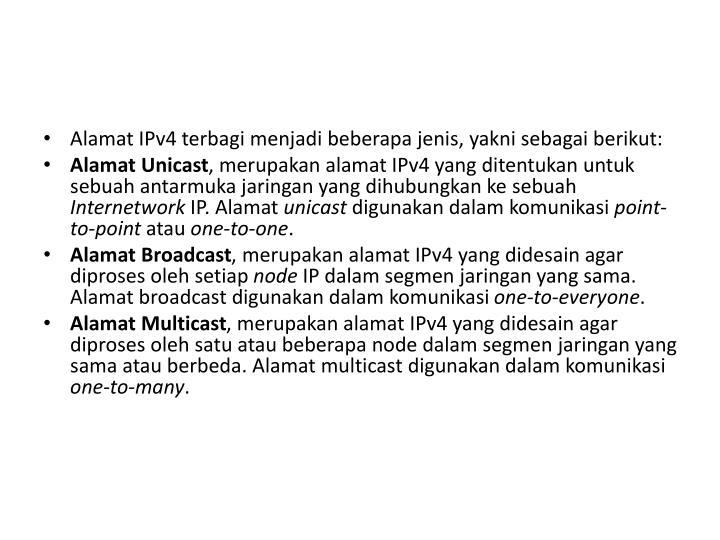 Alamat IPv4 terbagi menjadi beberapa jenis, yakni sebagai berikut: