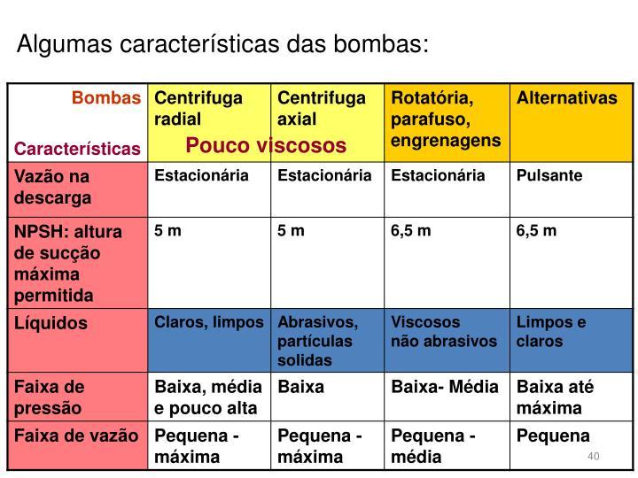 Algumas características das bombas: