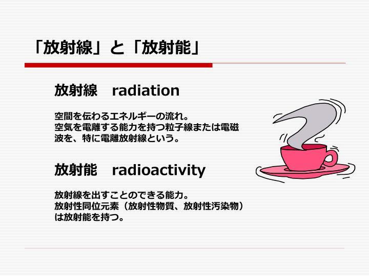「放射線」と「放射能」