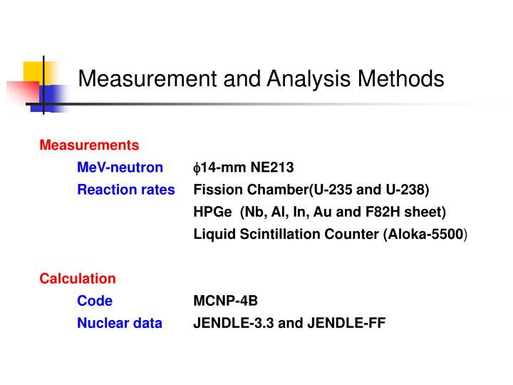 Measurement and Analysis Methods