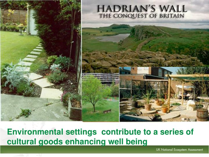Environmental settings  contribute to a series of cultural goods enhancing well being
