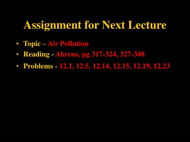 Assignment for Next Lecture