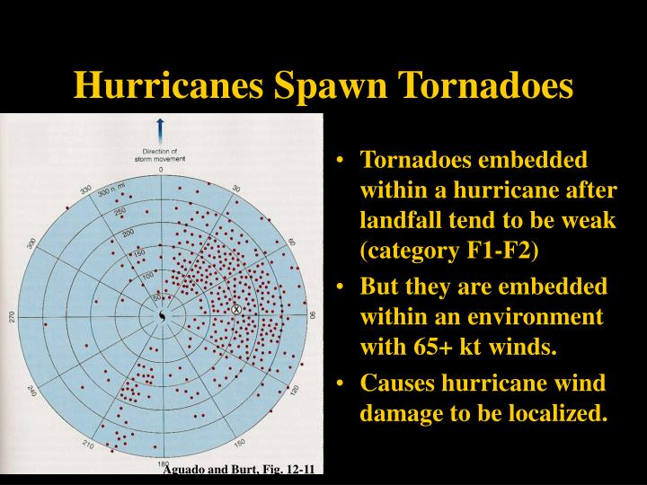 Tornadoes embedded within a hurricane after landfall tend to be weak (category F1-F2)