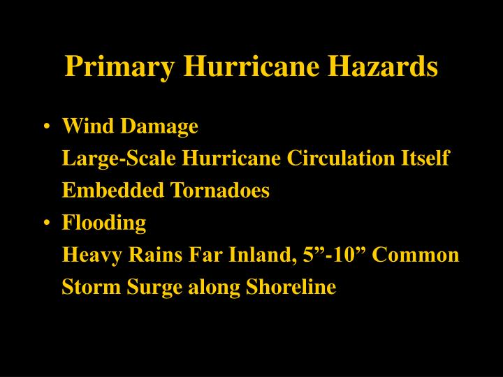 Primary Hurricane Hazards