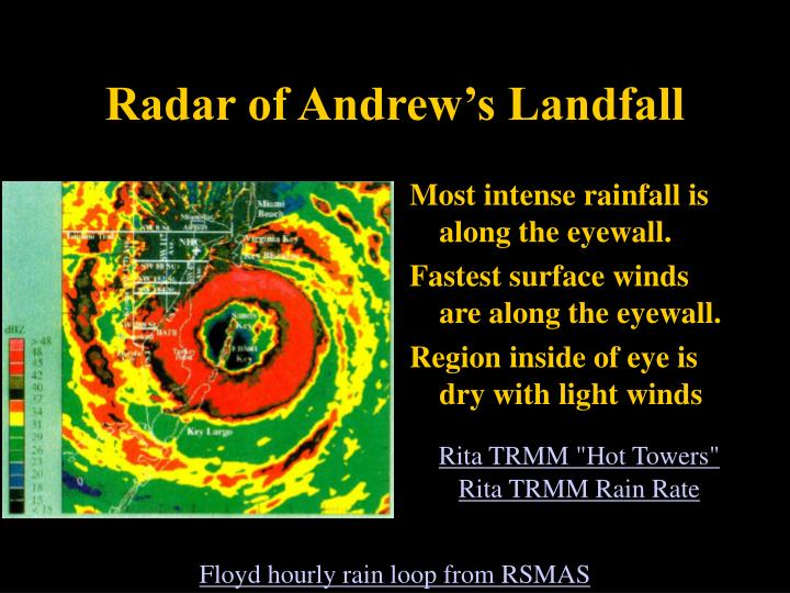 Most intense rainfall is along the eyewall.