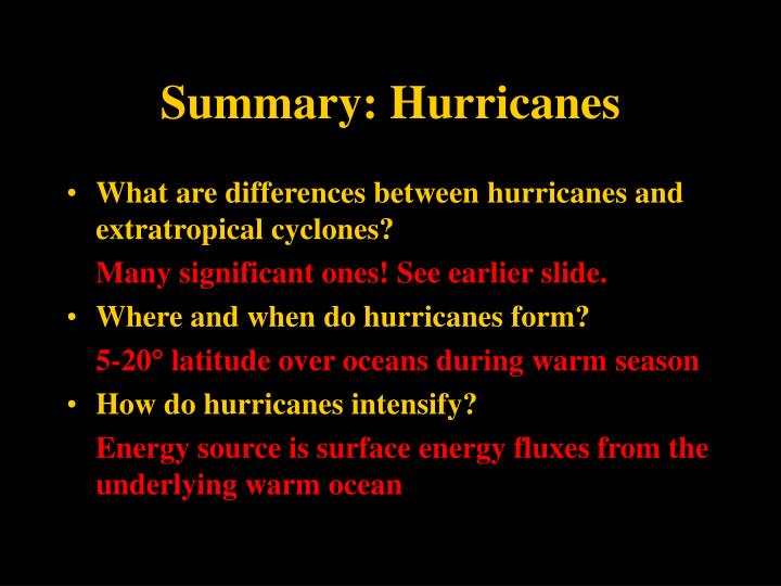 Summary: Hurricanes