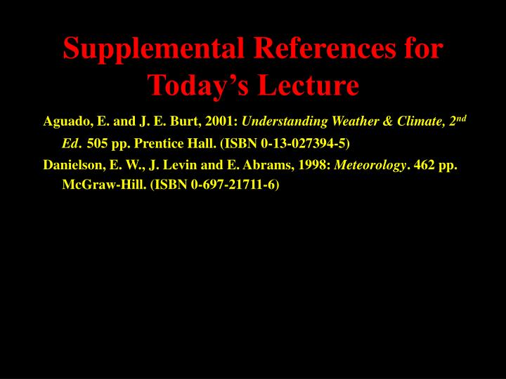Supplemental references for today s lecture