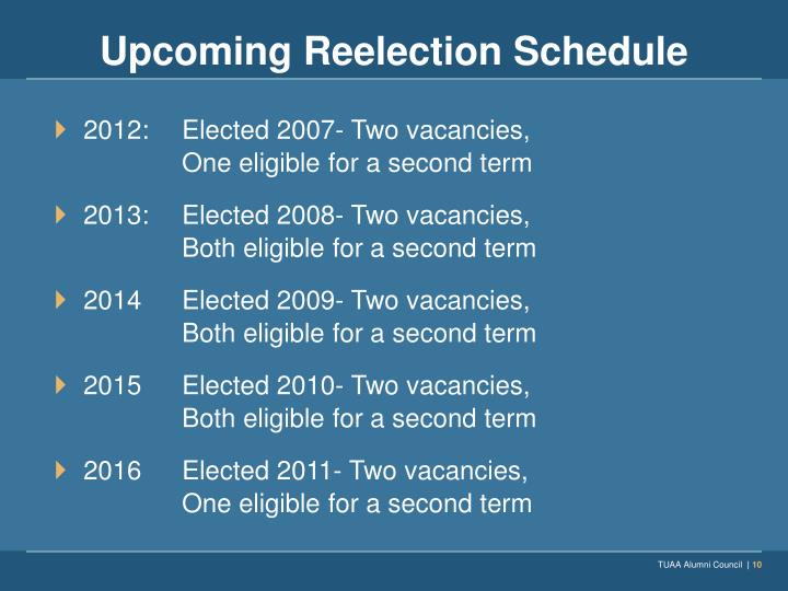 Upcoming Reelection Schedule