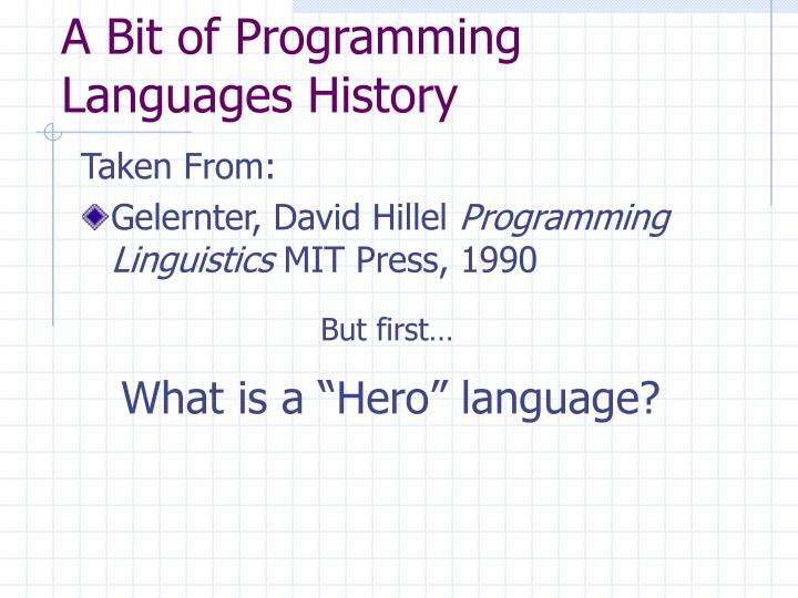 A Bit of Programming